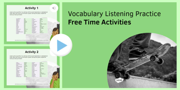 Free Time Activities Vocabulary Listening Practice PowerPoint