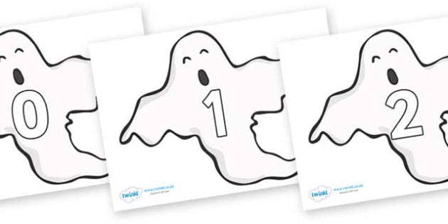 Numbers 0-31 on Ghosts (Plain) - 0-31, foundation stage numeracy, Number recognition, Number flashcards, counting, number frieze, Display numbers, number posters