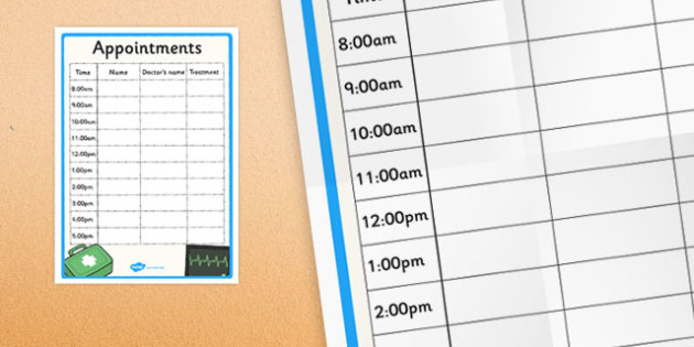 Doctor's Surgery Appointment Sheet - doctors surgery, doctor, surgery, appointment, sheet, health, role-play
