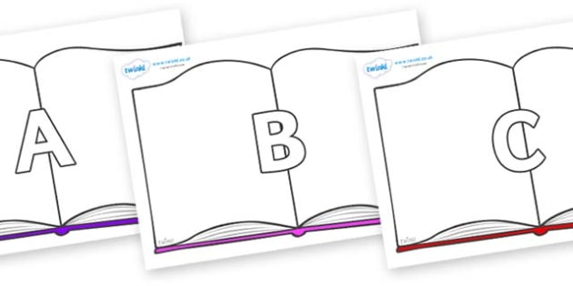 A-Z Alphabet on Books - A-Z, A4, display, Alphabet frieze, Display letters, Letter posters, A-Z letters, Alphabet flashcards