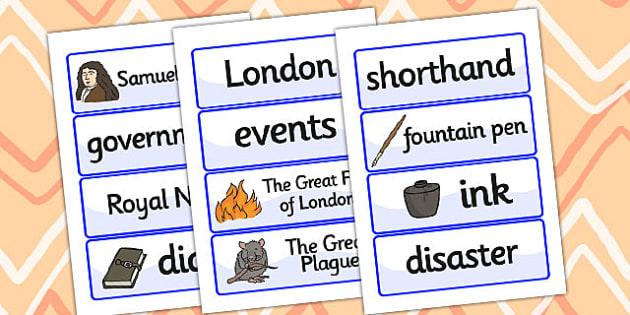 Samuel Pepys Word Cards - Samuel Pepys, word cards, topic cards, themed word cards, themed topic cards, key words, key word cards, keyword, writing aid