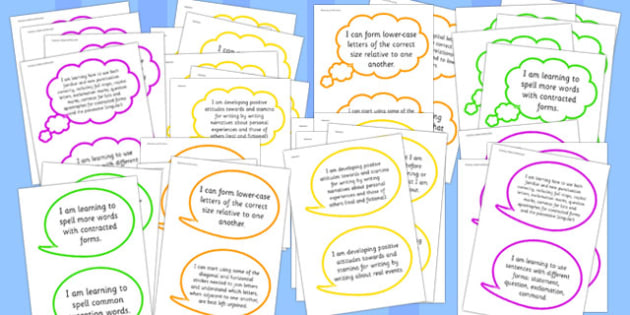Large 2014 Curriculum Writing Assessment I Can Speech bubbles