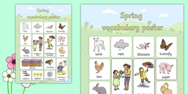 Spring Vocabulary Poster - spring, vocabulary, poster, display