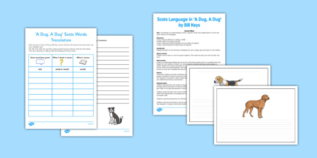 A Dug, A Dug Lesson Pack - cfe, curriculum for excellence, a dug, lesson pack, lesson, pack
