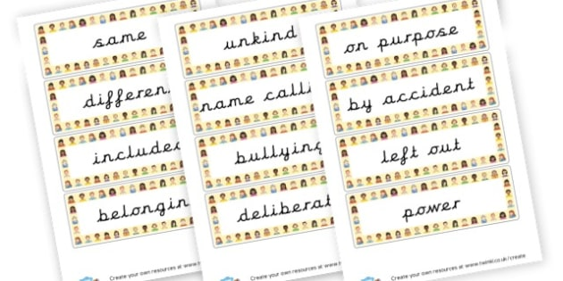 SEAL Say no to Bullying Vocab EYFS - PSHE SEAL Primary Resources -  Primary Resources, PSHE, Personal