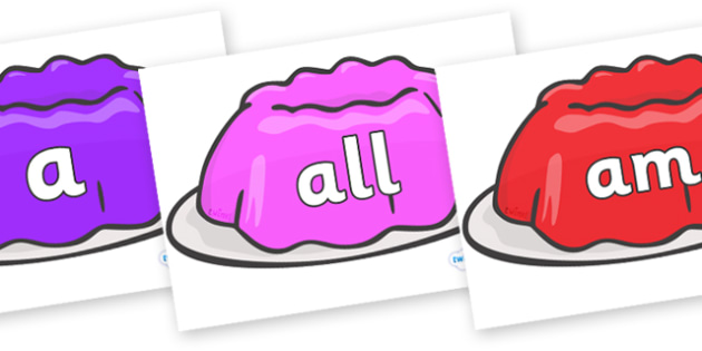 Foundation Stage 2 Keywords on Jelly - FS2, CLL, keywords, Communication language and literacy,  Display, Key words, high frequency words, foundation stage literacy, DfES Letters and Sounds, Letters and Sounds, spelling