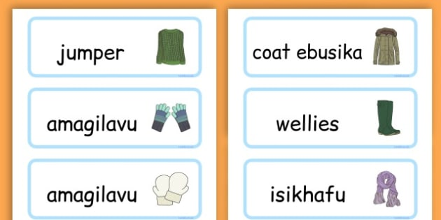 Winter Clothes Word Cards - winter clothes, word cards, winter, clothes - Zulu