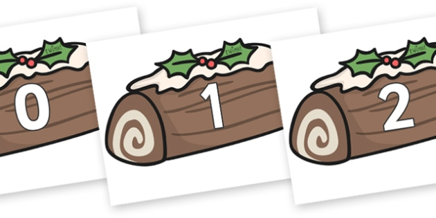 Numbers 0-31 on Christmas Logs - 0-31, foundation stage numeracy, Number recognition, Number flashcards, counting, number frieze, Display numbers, number posters