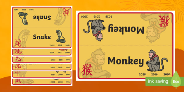 Chinese New Year Animals Group and Table Signs
