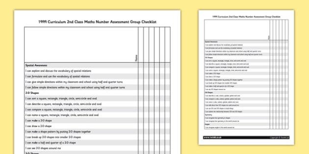 1999 Curriculum 2nd Class Maths Shape and Space Group Checklist - roi, irish, republic of ireland