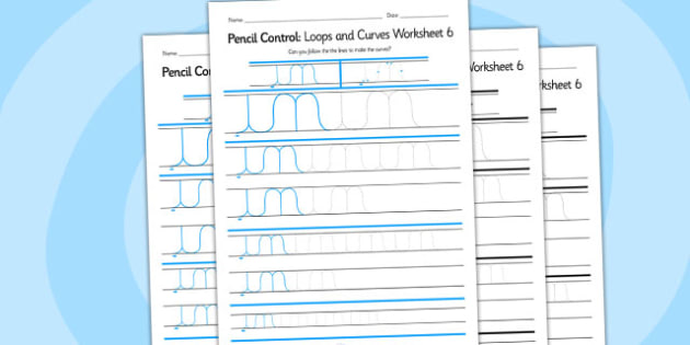 Pencil Control Loops And Curves Worksheet 6 - pencil control