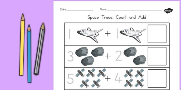 Space Trace Count and Add Worksheet - space, count, trace, add