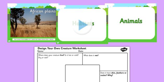 Animal Habitats and Design Your own Creature PowerPoint and Worksheet - habitats, habitats ks2, animal habitats, habitats powerpoint, habitats worksheet