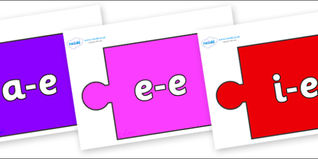 Modifying E Letters on Jigsaw Pieces - Modifying E, letters, modify, Phase 5, Phase five, alternative spellings for phonemes, DfES letters and Sounds