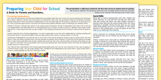 Scottish CfE Preparing Your Child for School: A Guide for Parents and Guardians - early years, EYFS planning, transition