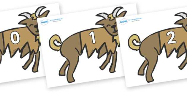 Numbers 0-50 on Little Billy Goat Gruff - 0-50, foundation stage numeracy, Number recognition, Number flashcards, counting, number frieze, Display numbers, number posters