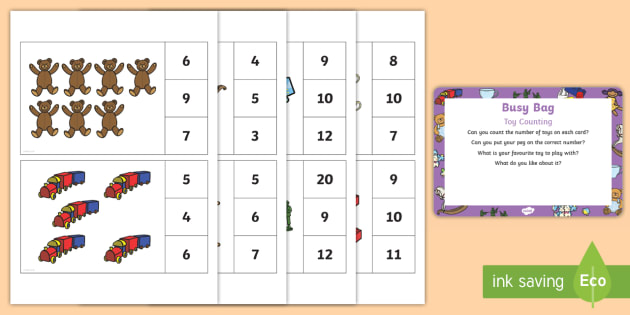 Toy Counting Busy Bag Prompt Card and Resource Pack - Toys, peg, count, counting, number recognition