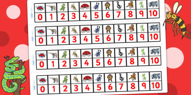 Number Track 0-10 to Support Teaching on The Bad Tempered Ladybird - counting, count