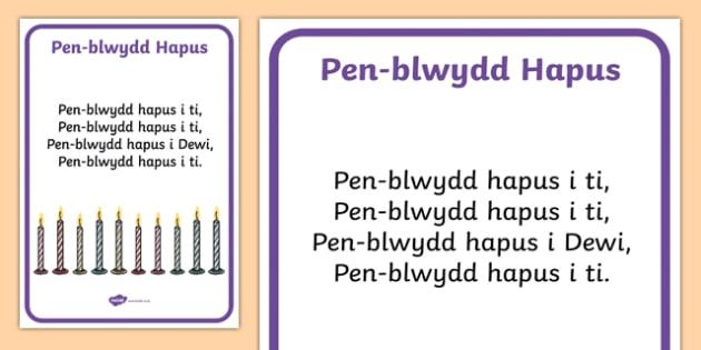 Happy Birthday!  Song Lyrics-Welsh