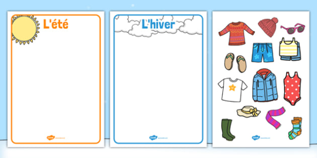 Winter and Summer Clothes Sorting Activity French - french, winter, summer, clothes, sorting, activity
