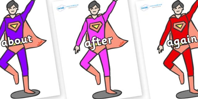 KS1 Keywords on Superheroes (Multicolour) - KS1, CLL, Communication language and literacy, Display, Key words, high frequency words, foundation stage literacy, DfES Letters and Sounds, Letters and Sounds, spelling