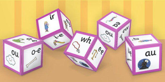 Phase 5 Alphabet Sounds with Images Dice Nets - phase 5, dice, alphabet