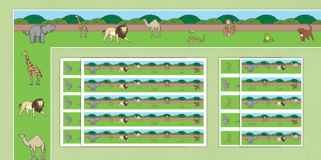 Display Borders to Support Teaching on Dear Zoo - Dear Zoo, Rod Campbell story, zoo, zoo animals, adjectives, descriptive words, lion, monkey, puppy, giraffe, story book, story book resources, story sequencing, story resources, zoo, animals, Display