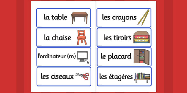 French School Equipment Vocabulary Cards - france, languages, EAL