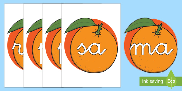 Tarjetas de sílabas: Naranjas - lecto, leer, primeros sonidos
