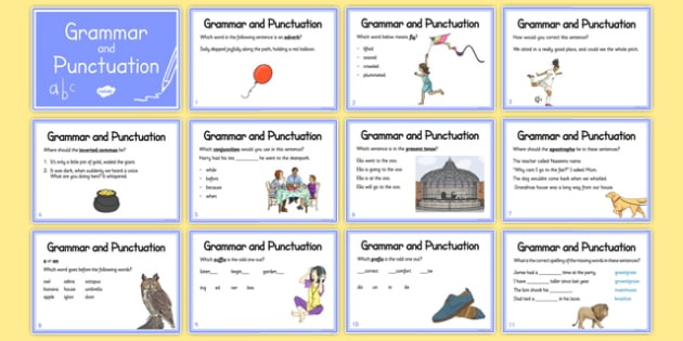 Year 3 Grammar and Punctuation Challenge Cards - punctuation, grammar, year 3 year 4, challenge, cards, independent
