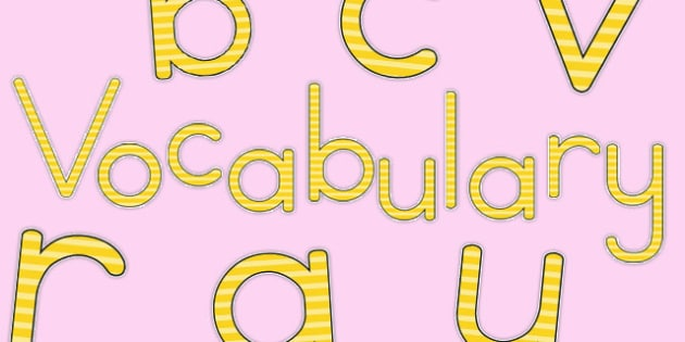 Vocabulary Display Lettering Yellow - australia, vocabulary, display