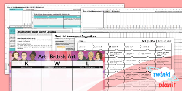 PlanIt - Art LKS2 - British Art Unit Assessment Pack - assessment, record, data, baseline, nation, pack, objectives, criteria, success, national, curriculum, local, design,