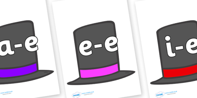 Modifying E Letters on Top Hats - Modifying E, letters, modify, Phase 5, Phase five, alternative spellings for phonemes, DfES letters and Sounds