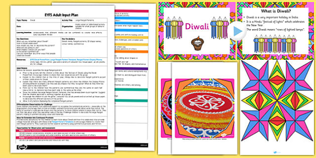 Large Rangoli Patterns EYFS Adult Input Plan and Resource Pack - rangoli, patterns, eyfs, early years, plan
