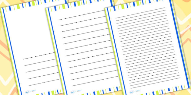 Green And Blue Stripe Page Borders - writing templates, border