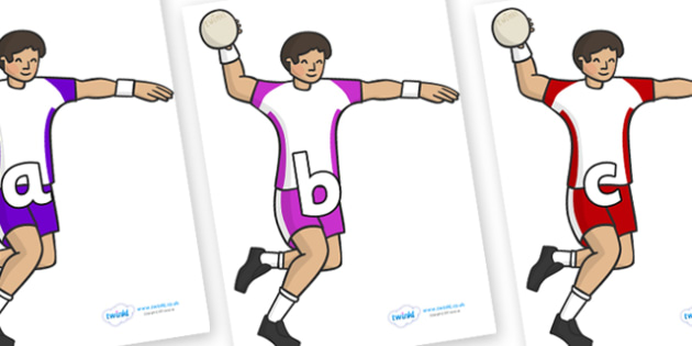 Phase 2 Phonemes on Handball Players - Phonemes, phoneme, Phase 2, Phase two, Foundation, Literacy, Letters and Sounds, DfES, display