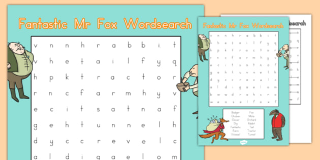 Word Search to Support Teaching on Fantastic Mr Fox - australia, fantastic mr fox, wordsearch