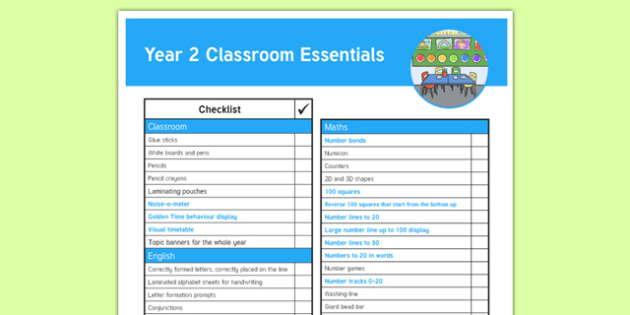 Year 2 Classroom Essentials Y2 Checklist