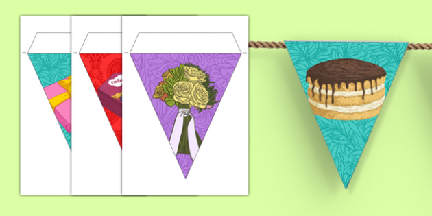 100th Birthday Party Picture Bunting - 100th birthday party, 100th birthday, birthday party, picture bunting