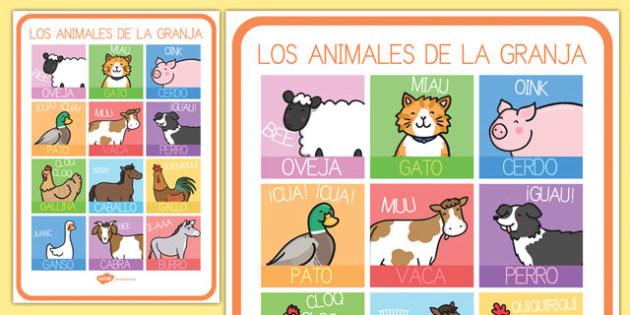 Los animales de la granja Poster DIN A4-Spanish