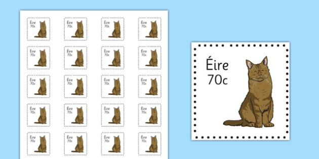 Irish Postage Stamps Cut Outs - Stamps, Role Play, Aistear, The Post Office, Christmas, Writing