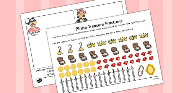 Pirate Treasure Fractions Find a Third Activity Sheet - pirate, treasure, worksheet