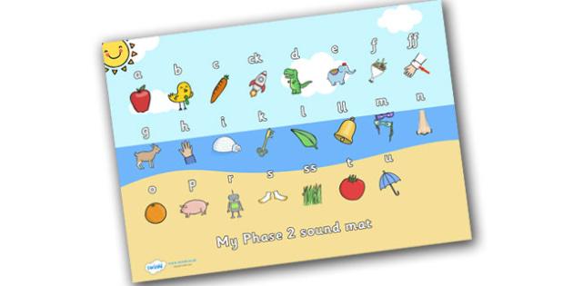 Seaside Themed Phase 2 Sound Mat - seaside, the seaside, at the beach, seaside sound mat, phase 2 seaside sound mat, beach sound mat, phonics, sounds