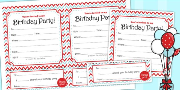 Zig Zag Birthday Party Invitations Red And Blue - birthday, party