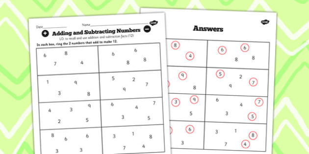 Number Facts to 20 Find Pairs to 12 Worksheet - number, facts
