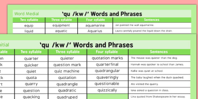 QU Word List - speech sounds, phonology, articulation, speech therapy, cluster reduction