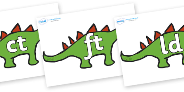 Final Letter Blends on Dinosaurs - Final Letters, final letter, letter blend, letter blends, consonant, consonants, digraph, trigraph, literacy, alphabet, letters, foundation stage literacy