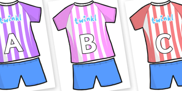 A-Z Alphabet on Football Strip - A-Z, A4, display, Alphabet frieze, Display letters, Letter posters, A-Z letters, Alphabet flashcards