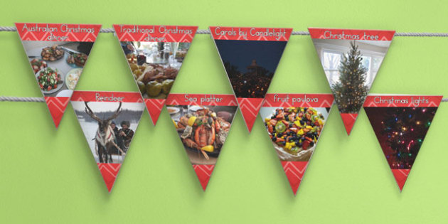 Christmas Display Photo Bunting - australia, christmas, bunting