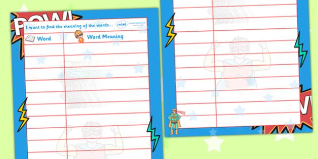 Superheroes Themed Word Meanings Writing Sheet - superhero, superhero themed words, superhero words, words, word meanings, word meaning sheet, superhero word sheet